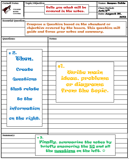 Avid weekly resources coach robinson 39 s avidly resources for Avid learning log template